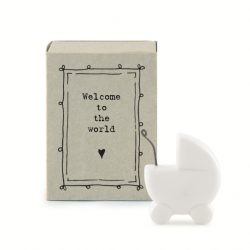 East of India Match Box - Welcome To The World White