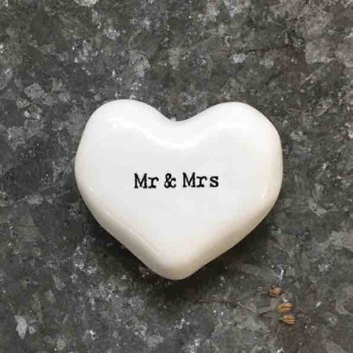 East of India 'Mr and Mrs' Porcelain Heart Token