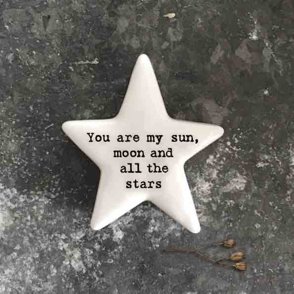 East of India 'My Sun, Moon and Stars' Porcelain Star Token