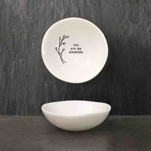 East of India 'My Sunshine' Small Porcelain Bowl