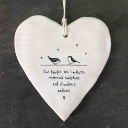 East of India 'Our Laughs Are Limitless' Porcelain Hanging Wobbly Heart