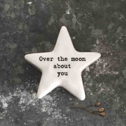 East of India 'Over The Moon' Porcelain Star Token
