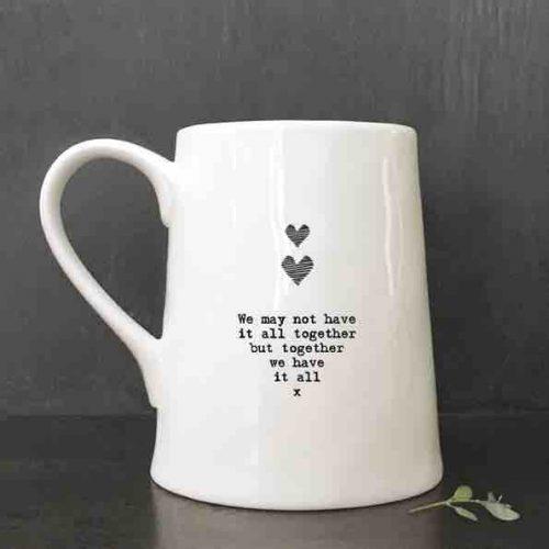 East of India Porcelain Mug - We May Not