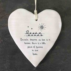 East of India 'Someone In Heaven' Porcelain Hanging Wobbly Heart
