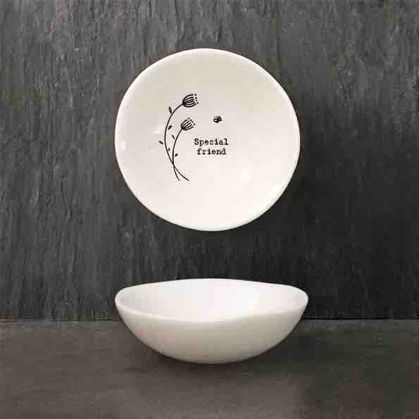 East of India 'Special Friend' Small Porcelain Bowl