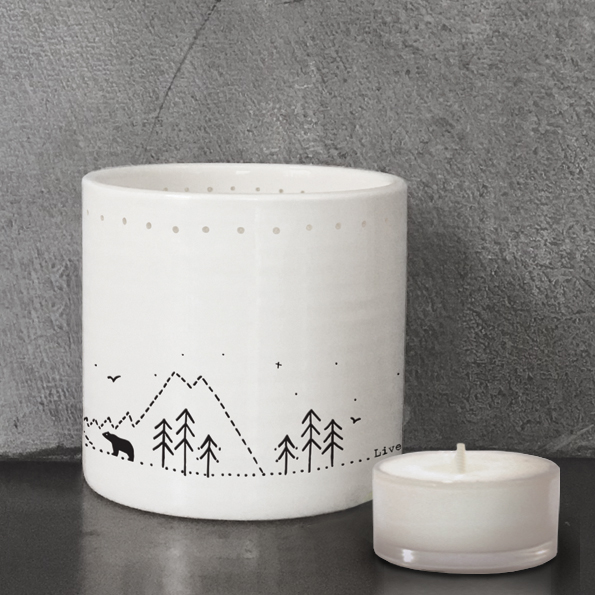 East of India Tea Light Holder-Live simply,laugh a lot