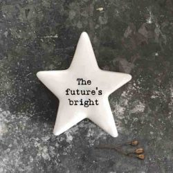 East of India 'The Future's Bright' Porcelain Star Token