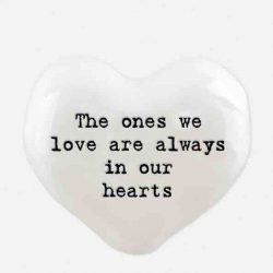 East of India 'The Ones We Love' Porcelain Heart Token White