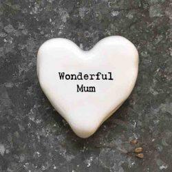 East of India 'Wonderful Mum' Porcelain Heart Token