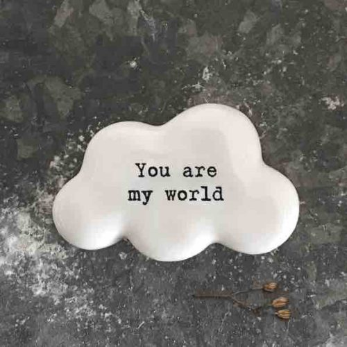 East of India 'You Are My World' Porcelain Cloud Token