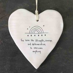 East of India 'You Have Strength' Porcelain Hanging Wobbly Heart