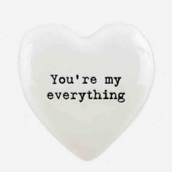 East of India 'You're My Everything' Porcelain Heart Token White