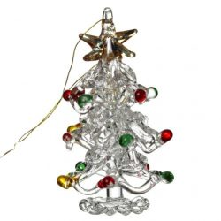 Hanging Glass Xmas Tree W/Colour Baubles