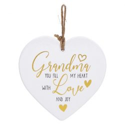 Golden Sentiments Ceramic Heart Grandma
