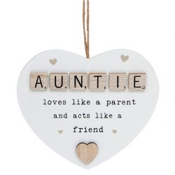 Scrabble Sentiment Hanging Heart Auntie