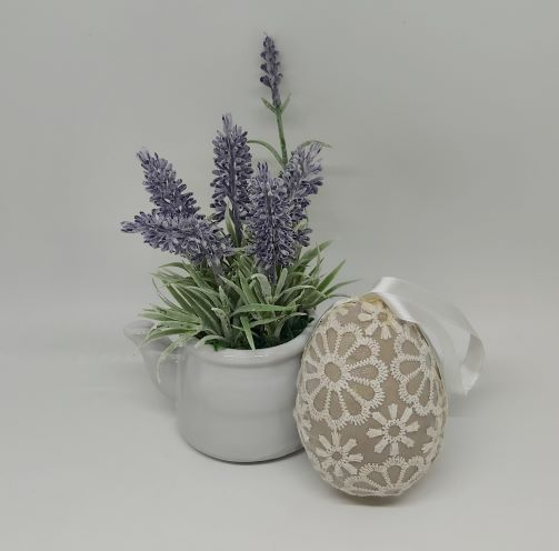 Easter Decoration with White Lace Floral Design