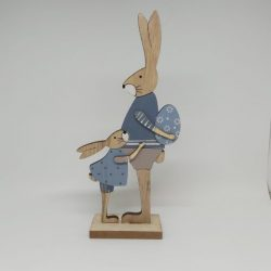 Wooden Blue Bunnies with Easter Egg