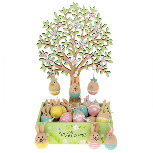 easter-tree-wooden-bunny-chicks-eggs