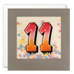 Paper Shakies Age 11 Birthday Card