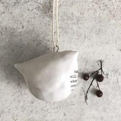Porcelain hanging Robin